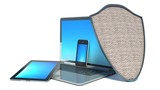 laptop, smart-phone and tablet PC with shield internet security