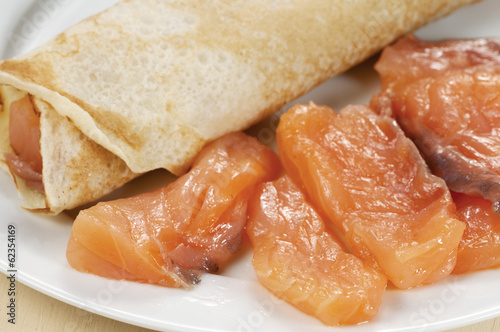 Pancakes with salmon