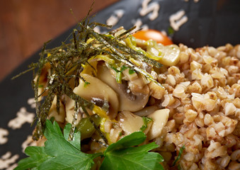 Buckwheat porridge  vegetables .