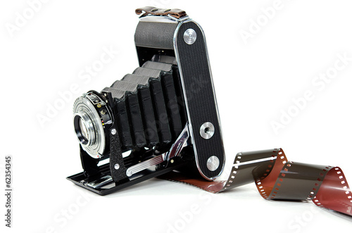 vintage bellows camera with filmstrip