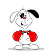 A cartoon dog wearing boxing gloves on a white background