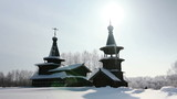 PAN an old wooden church in winter, Russia, Novosibirsk