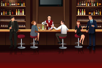 Business people in a bar