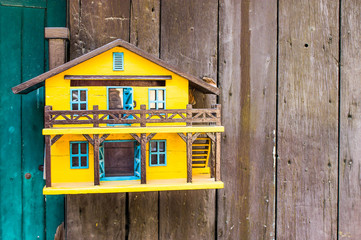 Wooden house mailbox