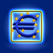 Euro currency sign neon icon
