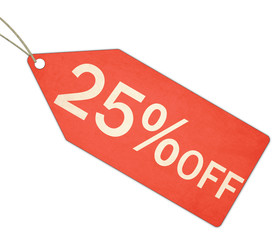 Twenty Five Percent Off Sale Red Tag and String