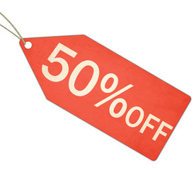 Fifty Percent Off Sale Red Tag and String