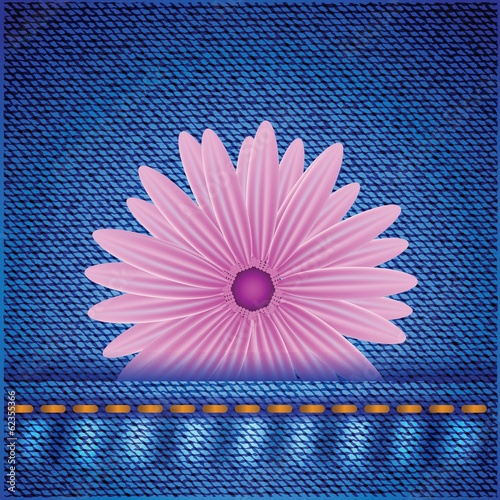 flower on jeans background