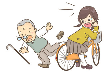 自転車に乗る女子高生と転倒するシニア