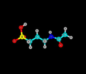 Acamprosate molecular structure isolated on black