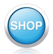 shop blue circle web icon on white background