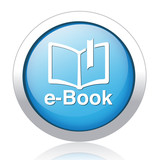 e-book blue glossy icon on white background