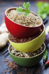 bowls of uncooked rice