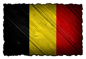 Belgium Flag painted on wood tag