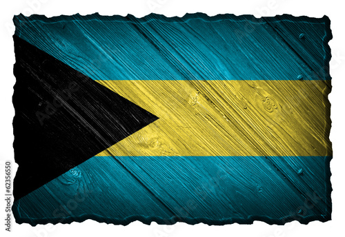 The Bahamas flag painted on a wood tag