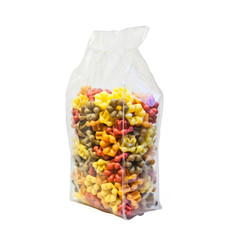 Fiori Flower shaped pasta in four colours, in a plastic bag