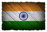 India Flag painted on wood tag