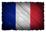 france flag painted on wood tag