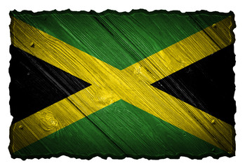 Jamaica flag painted on wooden tag