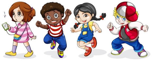 Black and Caucasian kids