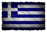 Greece Flag painted on wood tag