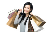 Asia woman with lots of shopping bag