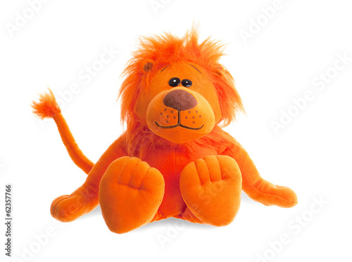 Stuffed animal lion sitting