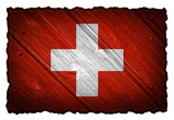 Switzerland Flag painted on wood tag