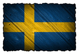 sweden flag painted on wood tag