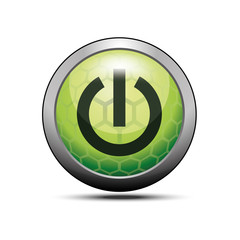 On/Off switch icon. Application green button