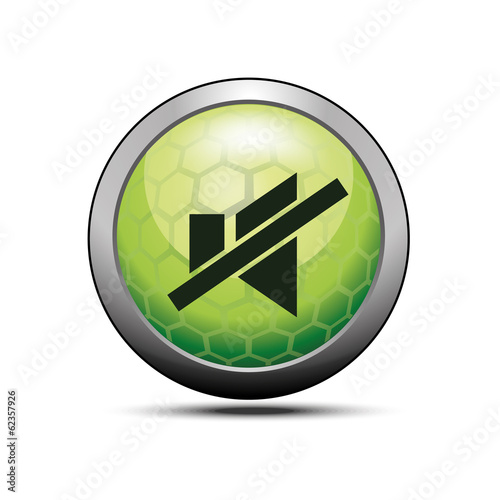 Mute sound icon illustration green vector