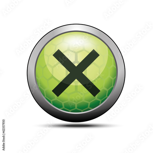 Delete cross icon illustration green vector