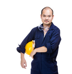 Asia construction worker with helmet