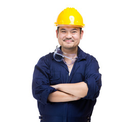 Happy asia construction worker