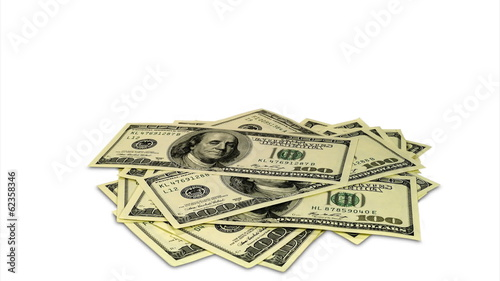 Stop motion whith dollars gathering in pile and disappear after