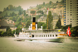 Old steamship near Montreux. Geneve lake.