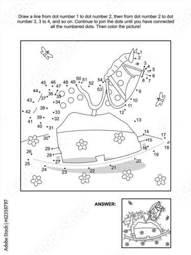 Dot-to-dot and coloring page - rocking horse