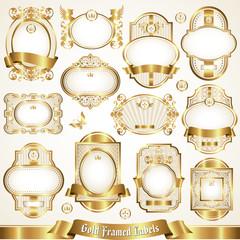 White gold-framed labels set 1