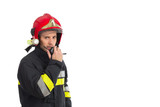 Firefighter using walkie-talkie