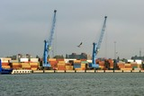 Containers in Klaipeda port. Lithuania