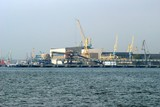 Klaipeda harbour with cranes. Lithuania