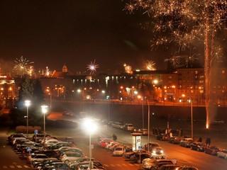 The fireworks and light in Vilnius