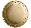 round bronze or gold metal medieval shield isolated - 62361154