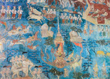 Ancient Thai mural painting of the Life of Buddha on temple wall