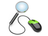 magnifying glass connected to a computer mouse