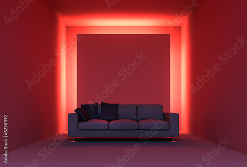 canvas print picture Sofa vor roter Lichtinstallation