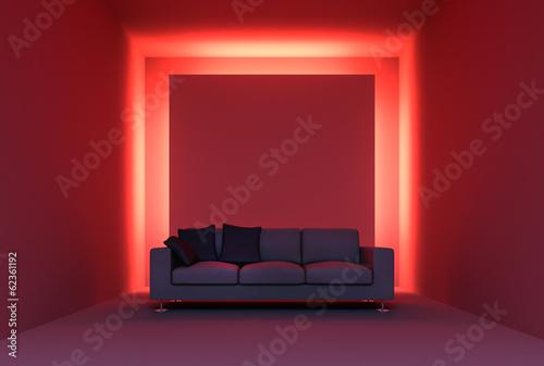 canvas print picture Sofa vor roter Lichtinstallation