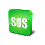 SOS 3d Rounded Corner Green Vector Icon Button