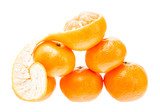 Mandarin citrus isolated tangerine mandarine orange in heap on w