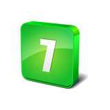 7 Number 3d Rounded Corner Green Vector Icon Button
